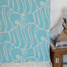 Load image into Gallery viewer, Blue, Turkish towel made of soft cotton has decorated with fish designs