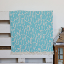 Load image into Gallery viewer, Blue color Turkish peshtemal towel with fish design
