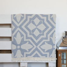 Load image into Gallery viewer, Steel-blue color, soft Turkish towel with modern geometrical designs