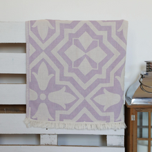 Load image into Gallery viewer, Violet color tulip designs on Turkish peshtemal towel