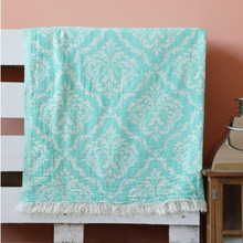 Load image into Gallery viewer, Turquoise Oriental Turkish towel made of 100% cotton