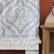 Load image into Gallery viewer, grey, oriental cotton peshtemal has tassels at the borders
