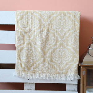 Mustard color Turkish beach-bath towel is made of 100% cotton