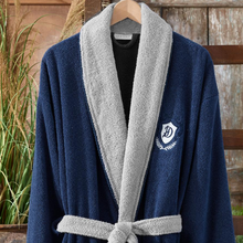 Load image into Gallery viewer,  Cotton men`s robe, collar in grey, rest in navy color