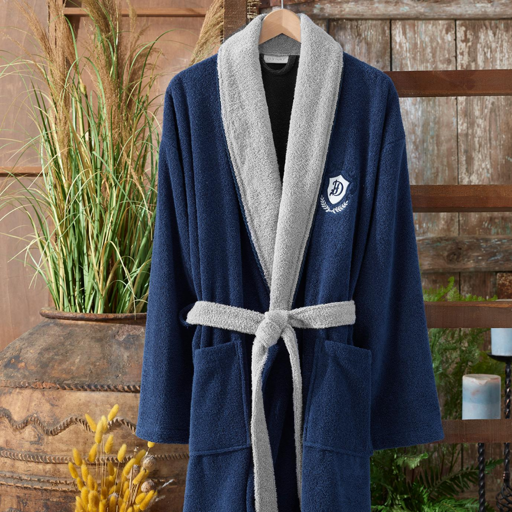 Classic kimono shape, cotton, men`s bathrobe in navy and grey colors