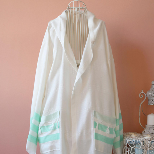bamboo-cotton, Turkish peshtemal bathrobe has green srtipes at the cuffs