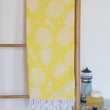 Load image into Gallery viewer, Bright yellow Turkish peshtemal beach towel has pineapple designs