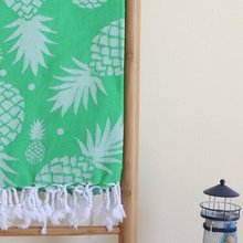 Load image into Gallery viewer, Green, absorbant Turkish towel has pineapple designs