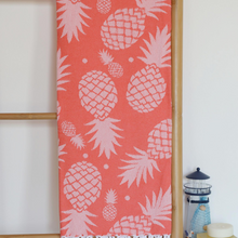 Load image into Gallery viewer, Pineapple Turkish towel in coral color with pineapple designs