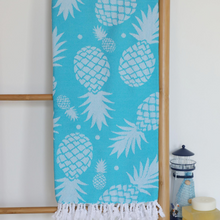 Load image into Gallery viewer, Bright blue color Turkish beach towel has pineapple design