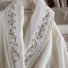 Load image into Gallery viewer, Golden bronze embroideries on collars of cotton, women robe