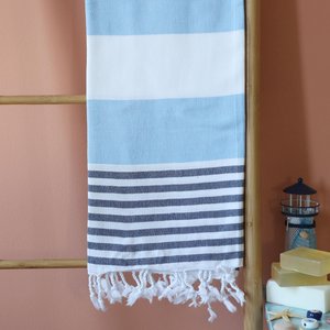 Absorbant, cotton beach towel has blue and navy stripes