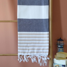 Load image into Gallery viewer, Peshtemal sailor beach towel has brown and navy stripes