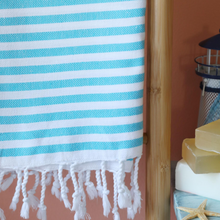 Load image into Gallery viewer, Light-weight Turkish beach towel has blue stripes