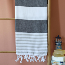 Load image into Gallery viewer, Thin and absorbant sailor towel in grey and white colors