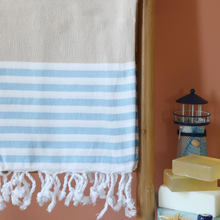 Load image into Gallery viewer, sailor beach towel has blue and brown stripes