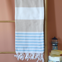 Load image into Gallery viewer, Cotton,Turkish beach towel has blue and brown stripes