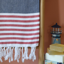 Load image into Gallery viewer, Sailor Turkish towel has red and navy stripes
