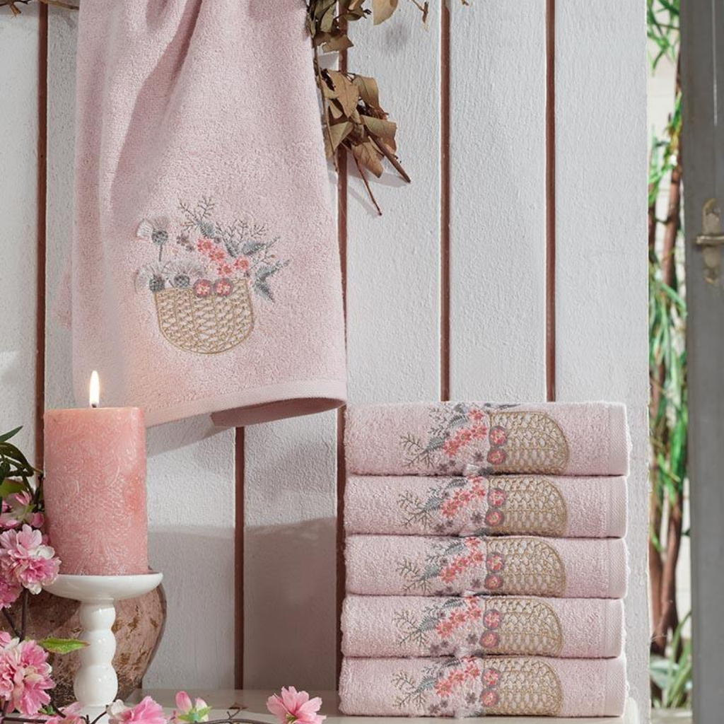 Powder-pink, Turkish cotton hand towels designed with floral ornaments