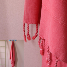 Load image into Gallery viewer, Stone-washed vermilion red peshtemal has hand-tied tassels