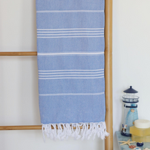 Load image into Gallery viewer, Blue Turkish beach/pool towel has white stripes