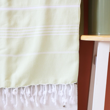 Load image into Gallery viewer, lime color, Turkish towel has white stripes and tassels