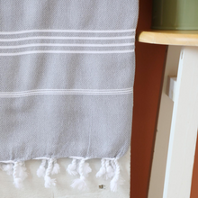 Load image into Gallery viewer, grey color Turkish peshtemal towel has white stripes