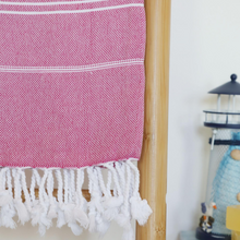 Load image into Gallery viewer, Pink, Sultan Turkish peshtemal towel has hand-tied tassels