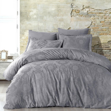 Load image into Gallery viewer, Bed linen set in anthracite-grey color with damask design on jacquard fabric