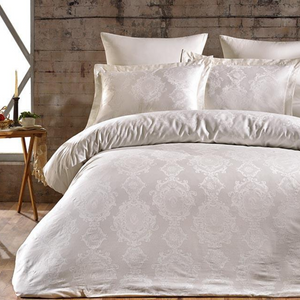 Cotton-sateen, creme color bedding designed in damask pattern