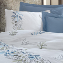 Load image into Gallery viewer, Blue and grey floral and leaf designs make a combination with blue bed sheet and pillows