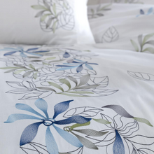 Load image into Gallery viewer, Delicate, blue and grey floral ornaments on white, cotton-sateen duvet cover