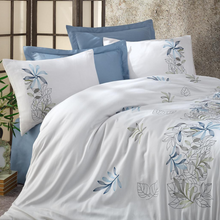 Load image into Gallery viewer, Blue floral designs embroidered on white, cotton-sateen bed linen