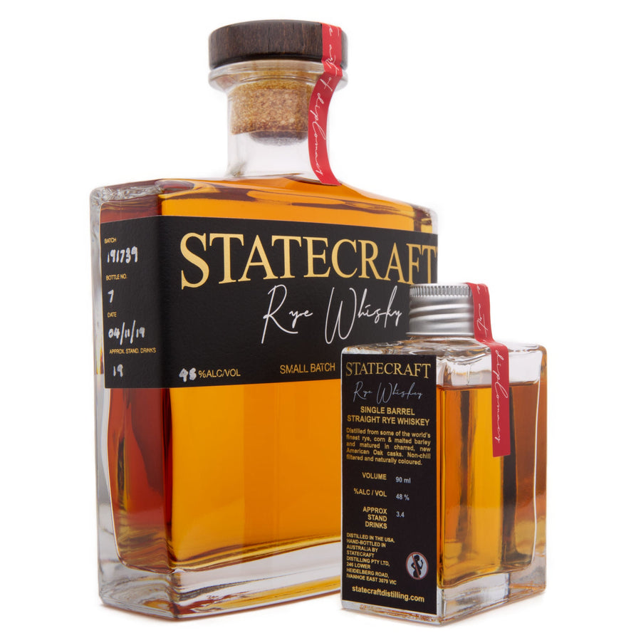 Statecraft Distilling Co. Single Cask, Hand-Bottled, Straight Rye Whiskey - 500ml and 90ml Bottles
