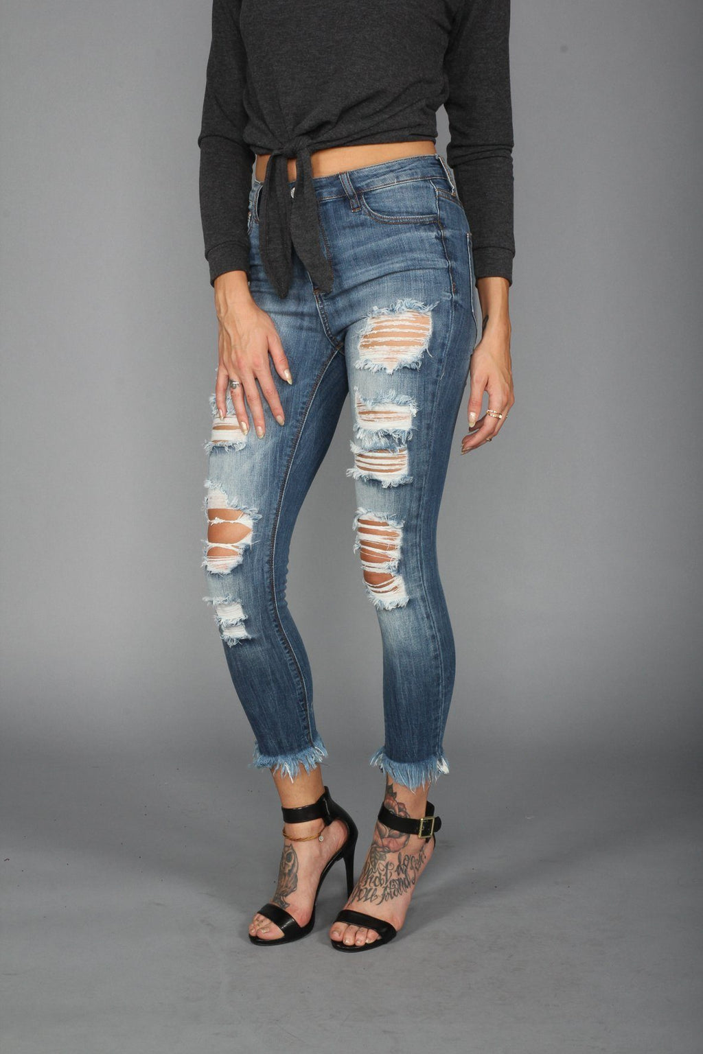 High Rise Crop Fray Hem Jeans - PHASE4US