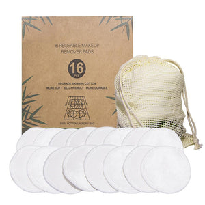 Zero Waste Reusable Bamboo Cotton Makeup Wipes - 16 Pcs. Set - A Sustainable You