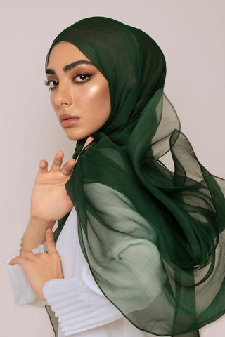 dark emerald silk hijab