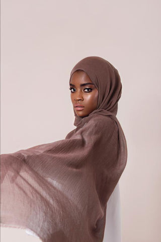 soft brown cashmere hijab