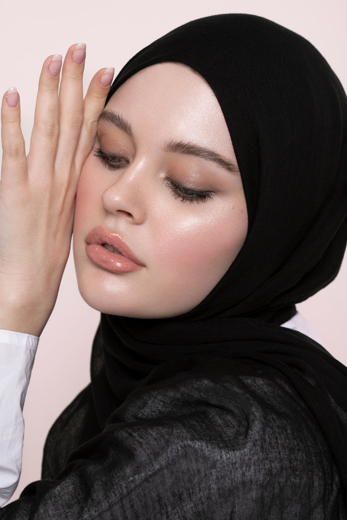 Black Modal Silk Hijab
