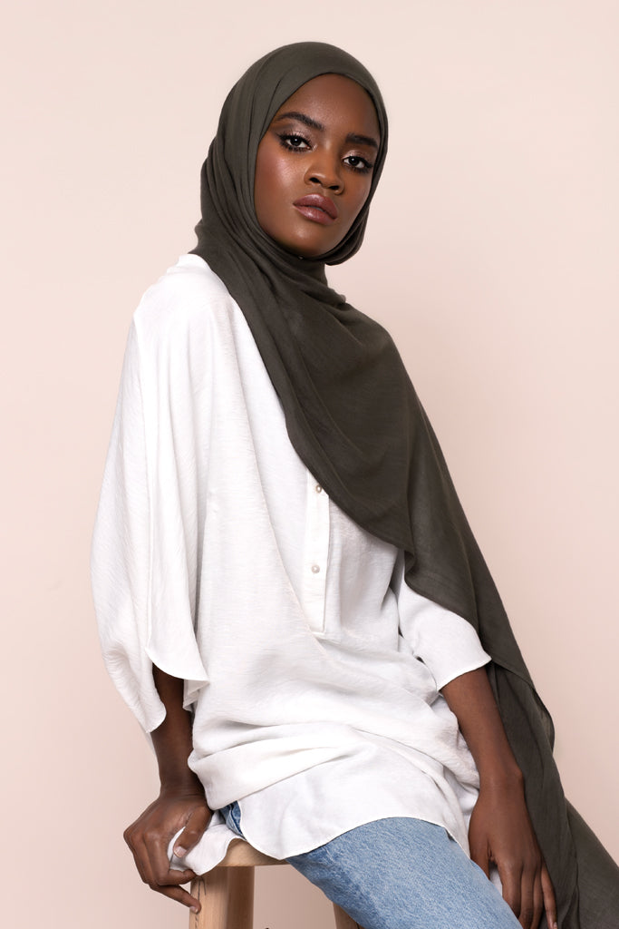 Dark Khaki Grey Cotton Modal Hijab