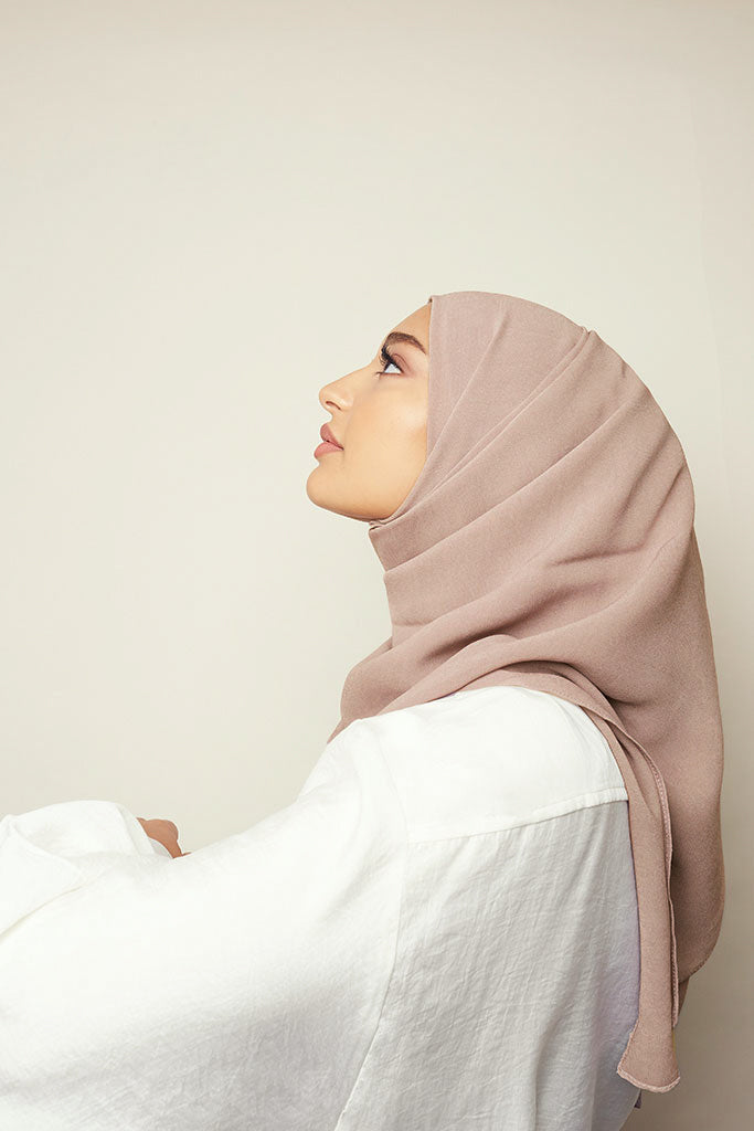 Dusty Pink Rough Cupro Chiffon Hijab