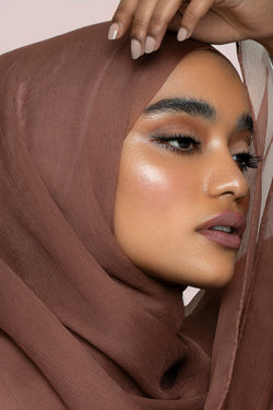 Golden Brown Crinkled Silk Chiffon Hijab