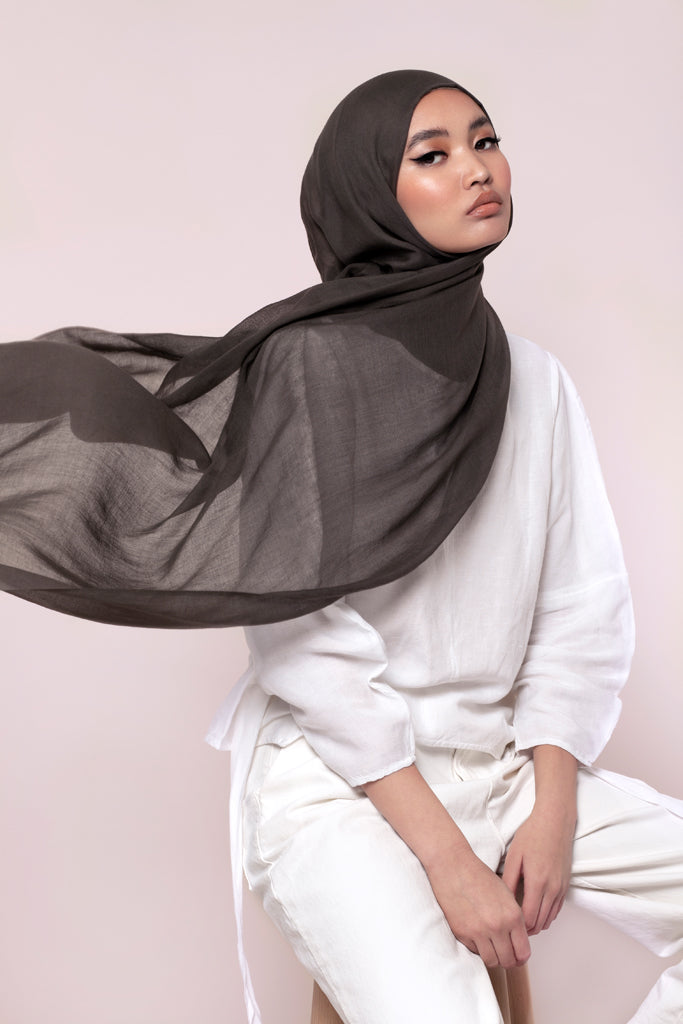 Khaki Grey Cotton Twill Hijab