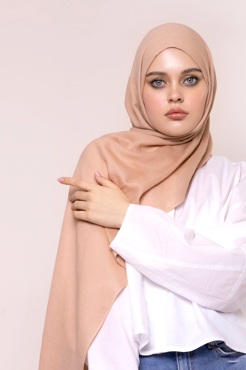 Pink Peach Cotton Twill Hijab