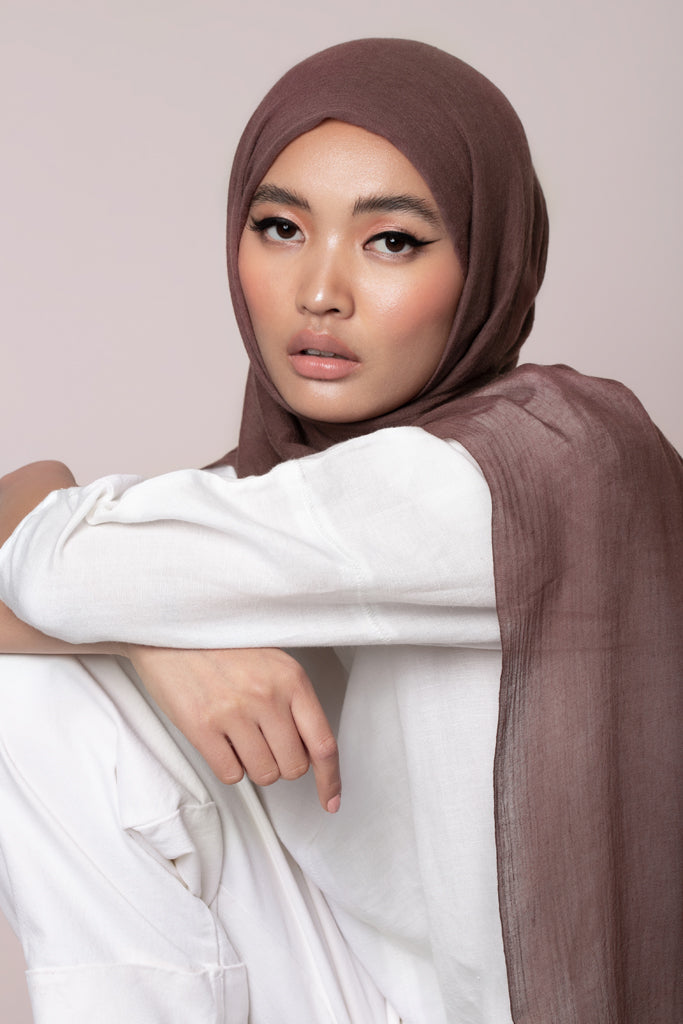 Soft Brown Modal Cashmere Hijab