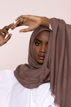 Soft Brown Modal Twill Hijab