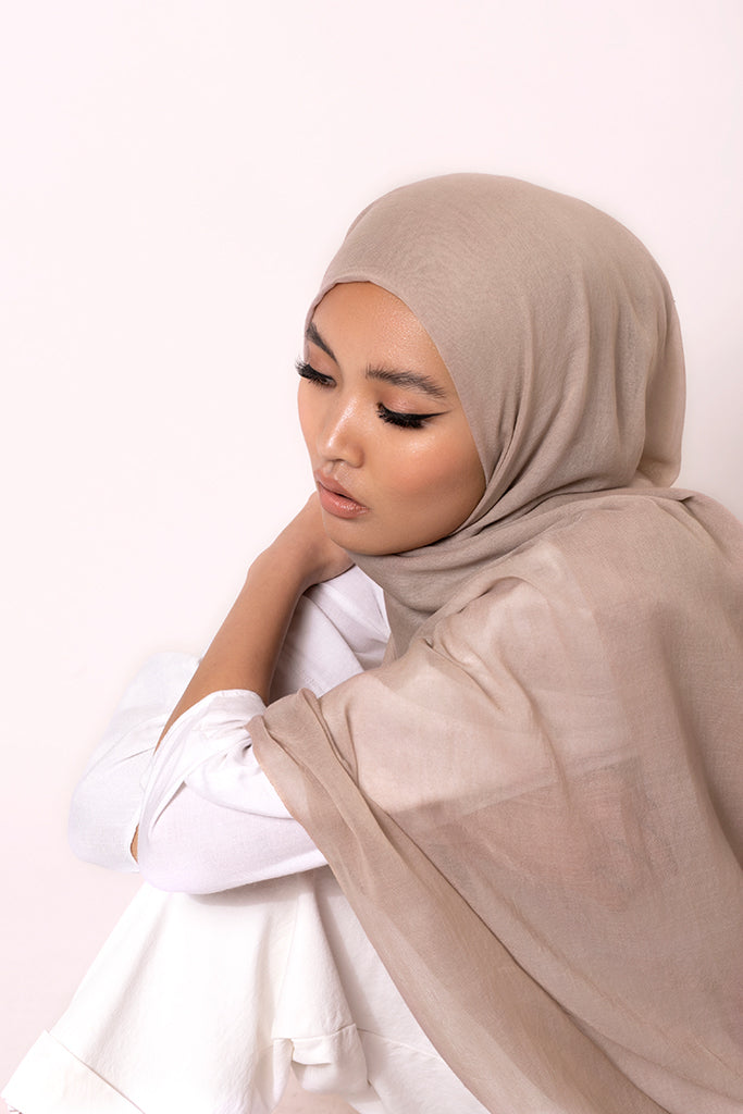 Washed Taupe Cotton Modal Hijab