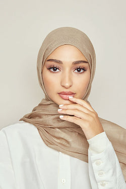 Washed Taupe Tight Weave Modal Hijab