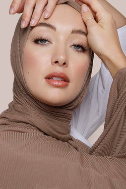 Tan Ribbed Jersey Hijab