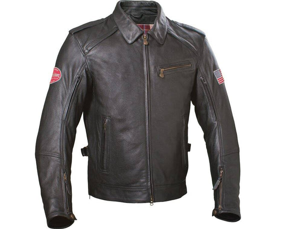 THROTTLE LEATHER RIDING JACKET - BLACK